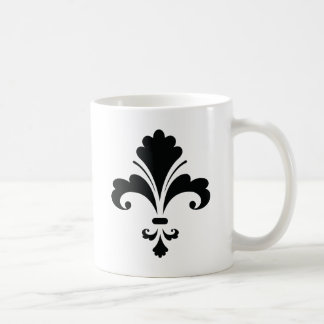 FLEUR DELIS4 Floral Design graphics black white Coffee Mug