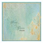 Fleur di Lys Damask 2 Blue - Wedding Invitation