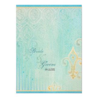 """Fleur di Lys Damask 2 Blue - Wedding Invitation 6.5"""" X 8.75"""" Invitation Card"""