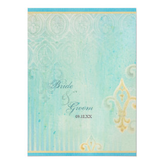 Fleur di Lys Damask 2 Blue - Wedding Invitation