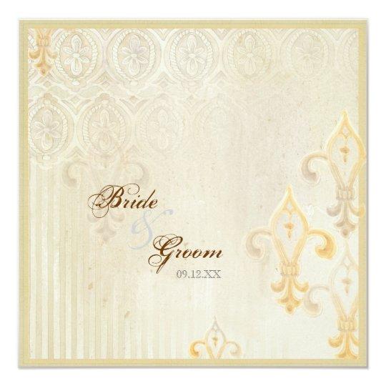 Fleur di Lys Damask 2 Cream Wedding Invitation