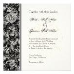 Fleur di Lys Damask - Black Wedding Invitation