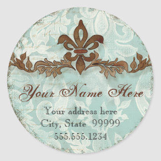 Fleur di Lys Damask Brown Address Stickers