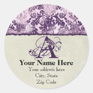 Fleur di Lys Damask Lilac Address Stickers