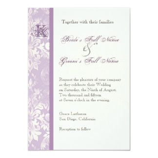 Fleur di Lys Damask - Lilac Wedding Invitation