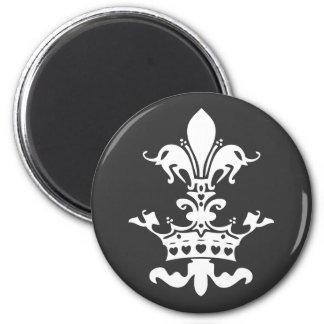 Fleur Heart Crown - Black 6 Cm Round Magnet
