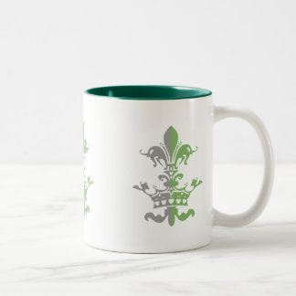 Fleur Heart Crown - Green Two-Tone Mug
