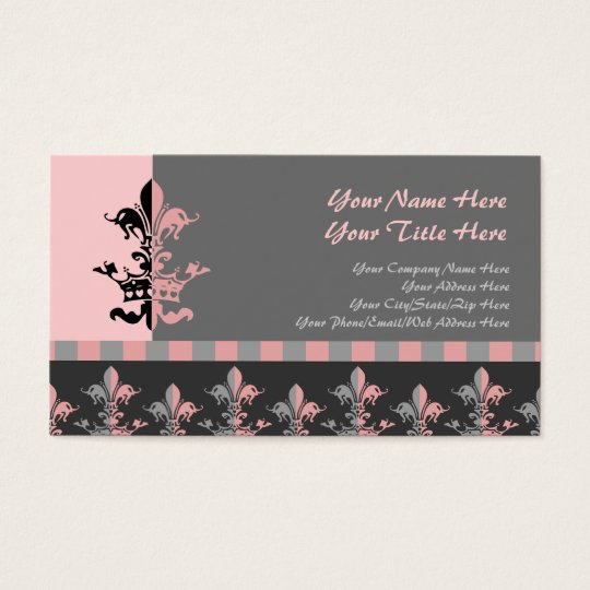Fleur Heart Crown - Pink Business Card