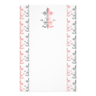 Fleur Heart Crown - Pink Stationery