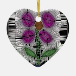 Fleur Stained Glass Ceramic Heart Decoration
