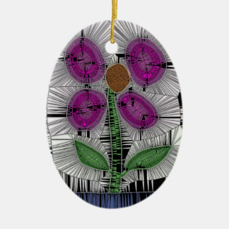 Fleur Stained Glass Ceramic Oval Decoration