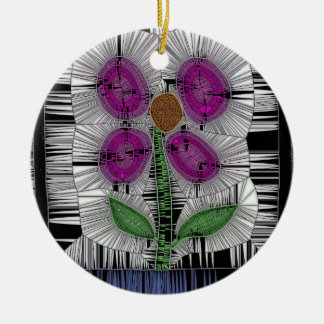 Fleur Stained Glass Round Ceramic Decoration