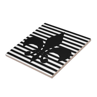 Fleurs-de-lis Black and White Striped Background Small Square Tile