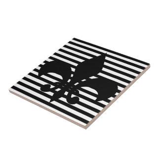 Fleurs-de-lis Black and White Striped Background Tile