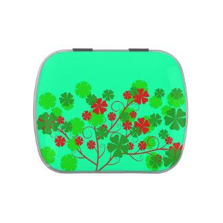 fleurs rouges et vertes jelly belly tins