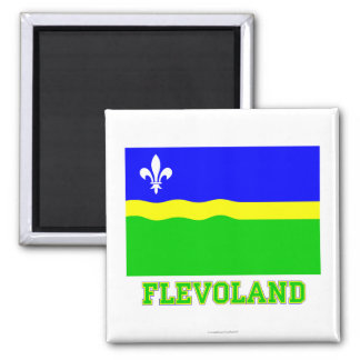 Flevoland Flag with name Square Magnet