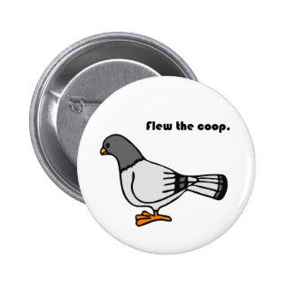 Flew the Coop Gray Pigeon Cartoon 6 Cm Round Badge