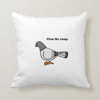 Flew the Coop Gray Pigeon Cartoon Throw Pillows