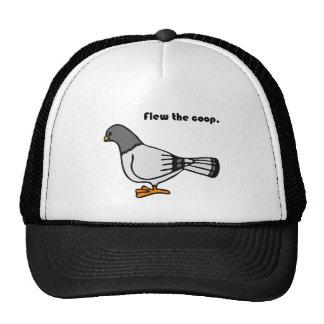 Flew the Coop Gray Pigeon Cartoon Mesh Hat