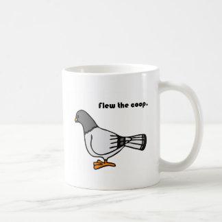 Flew the Coop Gray Pigeon Cartoon Coffee Mug