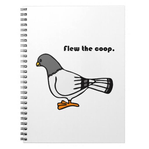 Flew the Coop Gray Pigeon Cartoon Spiral Note Books