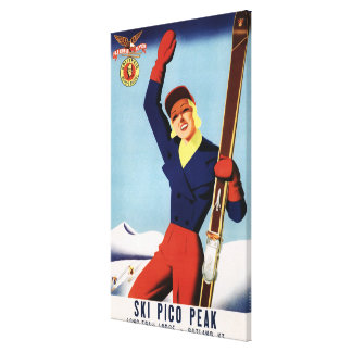 Flexible Flyer Pin-Up Skiing Girl Canvas Print