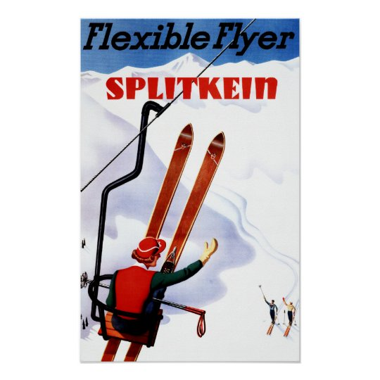 Flexible Flyer Splitkein Wooden Skis Promo Poster