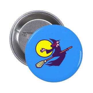 fliegende Hexe flying witch Halloween Buttons