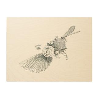 Flight and Flowers Wood Print