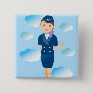 Flight Attendant 15 Cm Square Badge