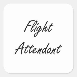 Flight Attendant Artistic Job Design Square Sticker