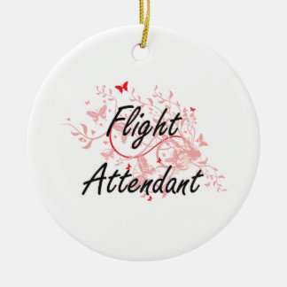 Flight Attendant Artistic Job Design with Butterfl Round Ceramic Decoration