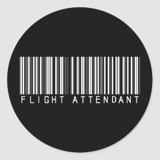 Flight Attendant Bar Code Round Sticker