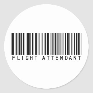 Flight Attendant Bar Code Round Stickers