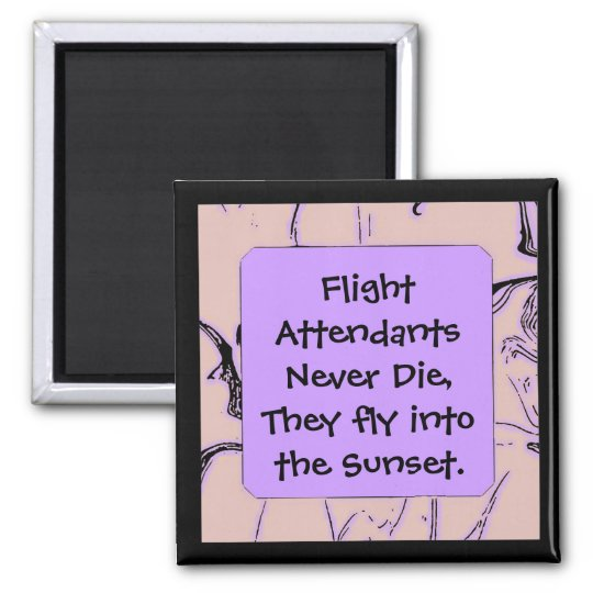 Flight Attendants fly into sunset Magnet