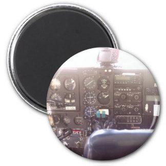 Flight Controls on Small Jet Plane 6 Cm Round Magnet