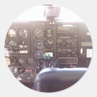 Flight Controls on Small Jet Plane Classic Round Sticker