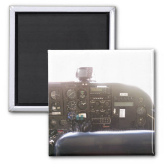 Flight Controls on Small Jet Plane Square Magnet
