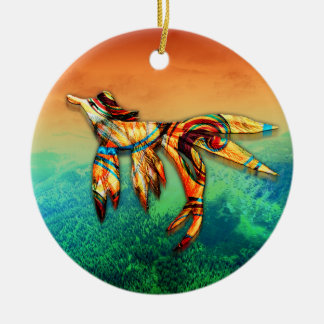 Flight Double-Sided Ceramic Round Christmas Ornament