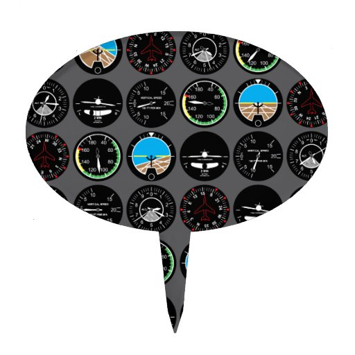Flight Instruments Cake Toppers