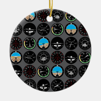 Flight Instruments Round Ceramic Decoration