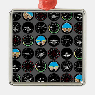 Flight Instruments Silver-Colored Square Decoration