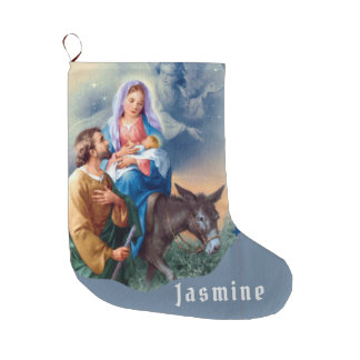 Flight into Egypt Jesus Mary Joseph Large Christmas Stocking
