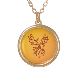 Flight of A Phoenix Gold Plated Necklace