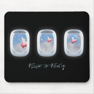 Flight of Fancy-Pigs fly past airplane windows Mouse Pad