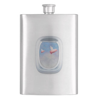 Flight of Fancy - Pigs Flying Past Airplane Window Hip Flask