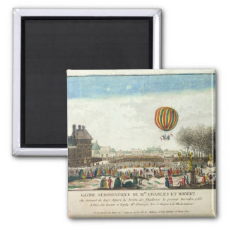 Flight of Jacques Charles  and Nicholas Robert Square Magnet