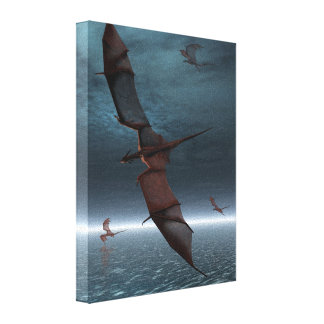 Flight of Red Dragons over the Sea Gallery Wrapped Canvas