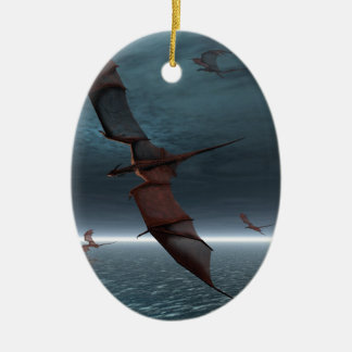 Flight of Red Dragons over the Sea Ceramic Oval Decoration