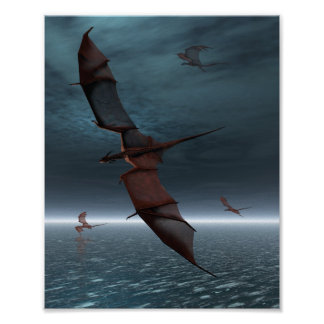 Flight of Red Dragons over the Sea Poster